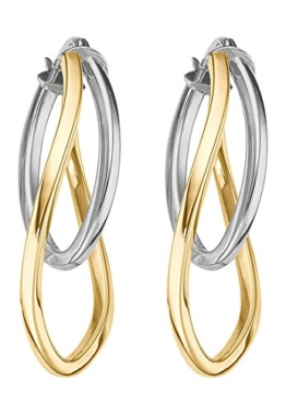 CHRIST Gold Damen-Creole 375er Gelbgold One Size, bicolor/gold/weißgold -