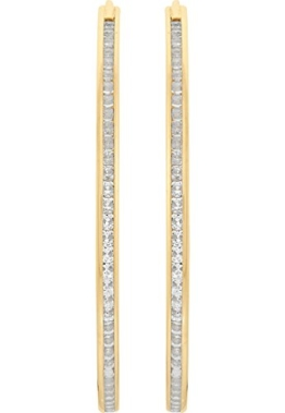 CHRIST Gold Damen-Creole 375er Gelbgold Zirkonia One Size, gold -