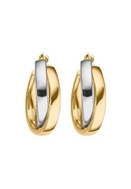 CHRIST Gold Damen-Creole 585er Gelbgold, 585er Weißgold One Size, bicolor/gold/weißgold -