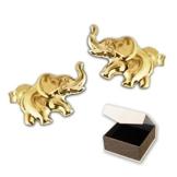 CLEVER SCHMUCK Goldene Ohrstecker kleiner Elefant 9 x 6 mm 333 GOLD 8 KARAT im Etui -