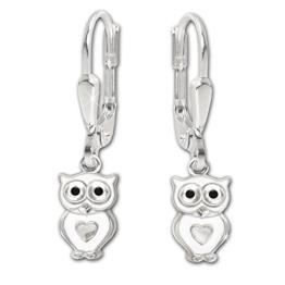 CLEVER SCHMUCK Silberne Ohrhänger 23 mm mit Mini Eule 8 mm weiß lackiert mit kleinem Herz glänzend STERLING SILBER 925 -