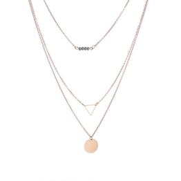Damen Halskette Kettchen Schlicht höhlt Triangle Pailletten gebördelte mehrschichtige Ketten -