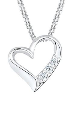 Diamore Damen-Halskette 925 Sterlingsilber Herz mit Diamanten 45 cm -