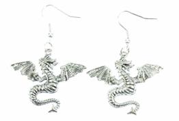 Drachen Ohrringe Drachenohrringe Drache Miniblings Fantasy Lindwurm Dino silber -