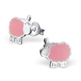 Ein Paar Kleine Pinke Schaf Ohrstecker aus Sterling Silber -