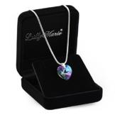 Eine Silberkette aus 925 Silber mit original Swarovski® Elements Herz Anhänger, mehrfarbig/lila, 14 mm, mit Schmucketui, ideal als Geschenk für Frau oder Freundin -