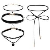 eLander Fashion Black PU-Leder reizvolle Halskette [4 Pack] für Damen Damen Halskette Choker Gothic einstellbare Kette aus Nylon und Metalllegierung -