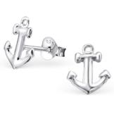 EYS JEWELRY® Damen-Ohrringe Anker 10 x 9 mm blank 925 Sterling Silber silber im Etui Damenohrstecker -