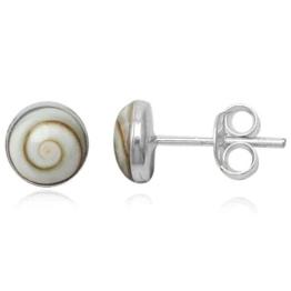 EYS JEWELRY® Damen-Ohrringe Kreis rund 6 x 6 mm Shiva Auge Muschel 925 Sterling Silber weiß im Etui Damenohrstecker -