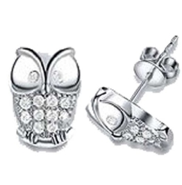 findout Silber Swarovski Element Crystal Sparkling-Eulen-Bolzen-Ohrringe. für Frauen, Mädchen, (f569) (2) -