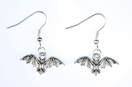 Fledermaus Ohrringe Hänger Miniblings Halloween Vampir Bat Blutsauger versilbert -