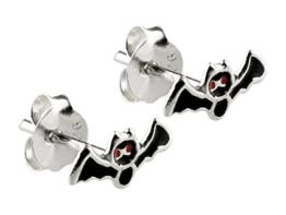 Halloween Ohrringe aus 925 Silber Fledermaus, schwarz rot emailliert -