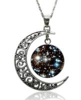 Halskette Silber Mond Universum Unisex Runder Anhänger (Schwarz/Weiß) -