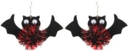 Hellorange Schwarz & Rot glitzerndes 3D Halloween Fledermäuse Ohrringe - Ohrlöcher -