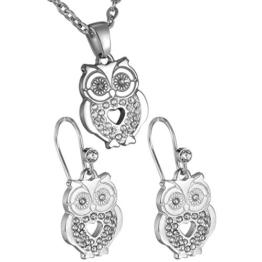 HooAMI Edelstahl Diamant Eule Anhänger Halskette Ohrringe Frau Schmuck-Sets -