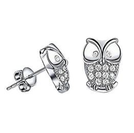 Hosaire 1 Paar Ohrringe Damen Ohrhänger Mode Eulen-Form Dangler Edelstahl-Stud Earring -