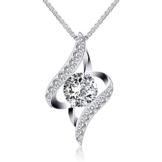 J.Rosée Kette Damen Halskette Anhänger 925 Sterling Silber Zirkonia 45cm, Schmuck mit Etui ( Weiß) -