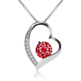 J.Rosée Kette / Damen Halskette mit Herz Anhänger 925 Sterling Silber Zirkonia 45cm / Schmuck mit Etui (ewige Liebe - rot) -