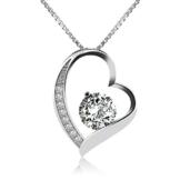 J.Rosée Kette / Damen Halskette mit Herz Anhänger 925 Sterling Silber Zirkonia 45cm / Schmuck mit Etui (ewige Liebe - weiß) -