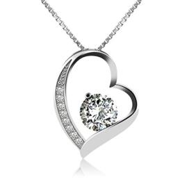 J.Rosée Kette   Damen Halskette mit Herz Anhänger 925 Sterling Silber  Zirkonia 45cm   Schmuck mit Etui (ewige Liebe – weiß) a4e0f6d96b