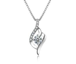 J.Vénus Damen Schmuck, Halskette Silber mit Anhänger 925 Sterling Silber Zirkonia 45cm / Kette, Schmuck mit Etui (ewige Liebe - weiß) -