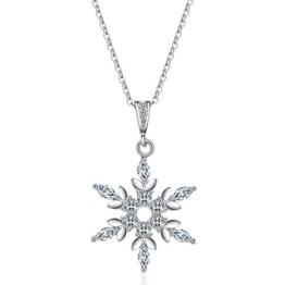 J.Vénus Damen Schmuck, Halskette Silber mit Schneeflocke Anhänger 925 Sterling Silber Zirkonia 45cm / Kette, Schmuck mit Etui (ewige Liebe - weiß) -