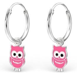 JAYARE® Kinder-Creolen Eulen 20 x 6 mm Emaille 925 Sterling Silber rosa pink im Etui Mädchen-Ohrringe Kreolen -