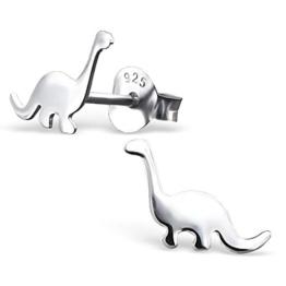JAYARE® Kinder-Ohrringe Dinosaurier 7 x 9 mm blank 925 Sterling Silber silber im Etui Mädchen-Ohrstecker -