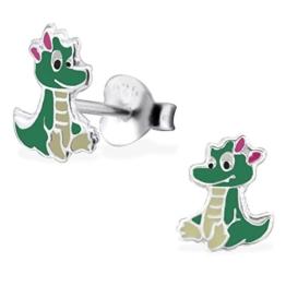 JAYARE® Kinder-Ohrringe Dinosaurier 8 x 7 mm Emaille 925 Sterling Silber grün im Etui Mädchen-Ohrstecker -