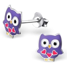 JAYARE® Kinder-Ohrringe Eulen 8 x 8 mm Emaille 925 Sterling Silber lila violett im Etui Mädchen-Ohrstecker -