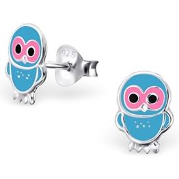 JAYARE® Kinder-Ohrringe Eulen 9 x 6 mm Emaille 925 Sterling Silber rosa pink blau im Etui Mädchen-Ohrstecker -