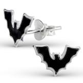 JAYARE® Kinder-Ohrringe Fledermaus Halloween 7 x 11 mm Emaille 925 Sterling Silber schwarz im Etui Mädchen-Ohrstecker -
