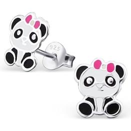 JAYARE® Kinder-Ohrringe Panda Bär 9 x 7 mm Emaille 925 Sterling Silber schwarz weiß im Etui Mädchen-Ohrstecker -