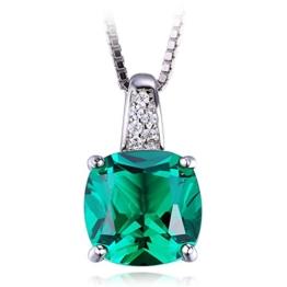 Jewelrypalace 3.42ct Grün Synthetisch Prinzessin Schliff Nano Russisch Smaragd Anhänger Kette Halskette 925 Sterling Silber Damen -