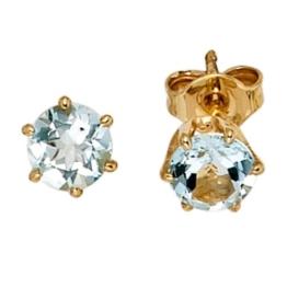 JOBO Ohrstecker 585 Gelbgold 2 Aquamarine Gold-Ohrringe -