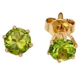 JOBO Ohrstecker 585 Gelbgold 2 Peridote Gold-Ohrringe -