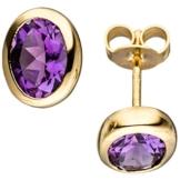 JOBO Ohrstecker 585 Gold Gelbgold 2 Amethyste violett lila Ohrringe Goldohrringe -