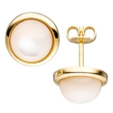 JOBO Ohrstecker 585 Gold Gelbgold 2 Perlmutt-Steine Ohrringe Goldohrringe -