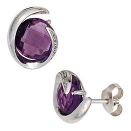 JOBO Ohrstecker 585 Weißgold 2 Amethyste 10 Diamanten Brillanten Ohrringe -
