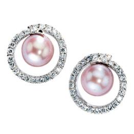 JOBO Ohrstecker 585 Weißgold 50 Diamant-Brillanten 2 Süßwasser-Perlen Gold-Ohrringe -