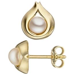 JOBO Ohrstecker Tropfen 333 Gold Gelbgold 2 Süßwasser Perlen Ohrringe -