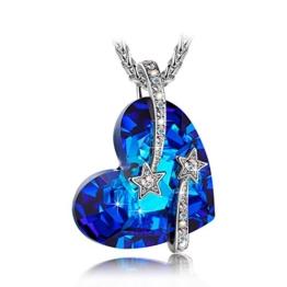 LADY COLOUR Ich liebe dich Kette Damen mit Kristallen von Swarovski blau Schmuck muttertagsgeschenke Weihnachtsgeschenke geburtstagsgeschenke valentinstag geschenk geschenke fur frauen freundin herz -
