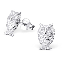 Laimons Damen-Ohrstecker Eule glanz Sterling Silber 925 -
