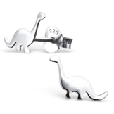 Laimons Kinder-Ohrstecker Dino-saurier in glanz flach Sterling Silber 925 -
