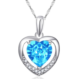 """Latigerf Damen Halskette """"Für immer Liebe"""" Herz Anhänger Rhodium Plated 925 Sterling Silber Kristall Blau -"""
