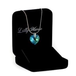 LillyMarie Silberkette aus 925 Silber mit original Swarovski Elements Herz Anhänger, blau, mit Schmucketui. Ideal als Geschenk für Frau oder Freundin -
