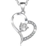 """MARENJA Kristall-Damen Kette mit Herz Anhänger Gravur""""Ich liebe Dich""""mit Konservierte Rose und Schmucketui -"""