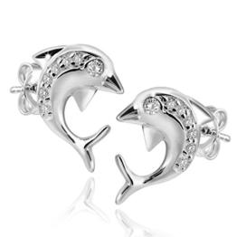 MATERIA 925 Silber Ohrringe Delfin - Silber Damen Ohrstecker Delphin mit Zirkonia weiß 12x13mm #SO-116 -