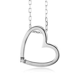 Miore Damen-Halskette Herz 1 Brillant 0,01ct farblos 45 cm -