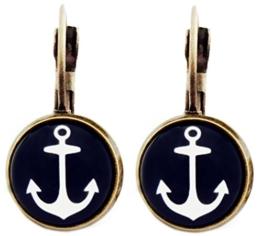 Miss Lovie Ohrhänger Nautische Anker Ohrringe Cabochon 12mm Ohrschmuck Dunkelblau Bronze -